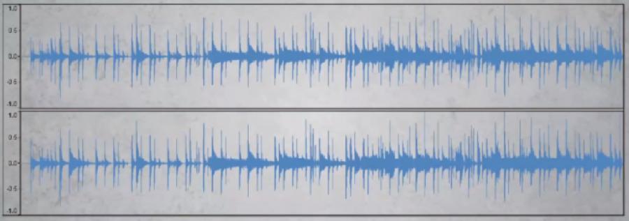 Articolo Loudness war_waveform con grande dinamica nei suoni